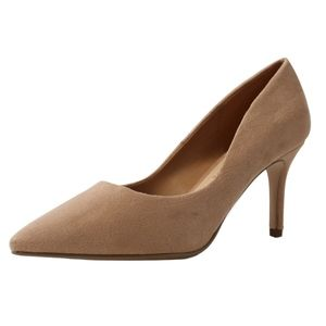Taupe WIDE FIT pointy toe high heel dress pump